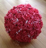 ARTIFICIAL FLOWERS CORAL FOAM ROSE BRIDE CRYSTAL WEDDING BOUQUET POSIE
